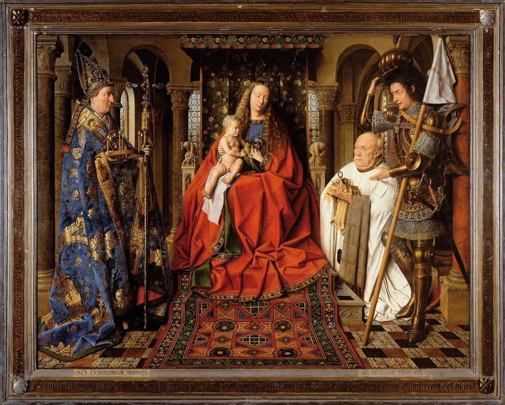 Virgin and Child with Canon van der Paele, c. 1434–36. Groeningemuseum, Bruges. Van Eyck's Marian paintings are suffused with iconographic detail