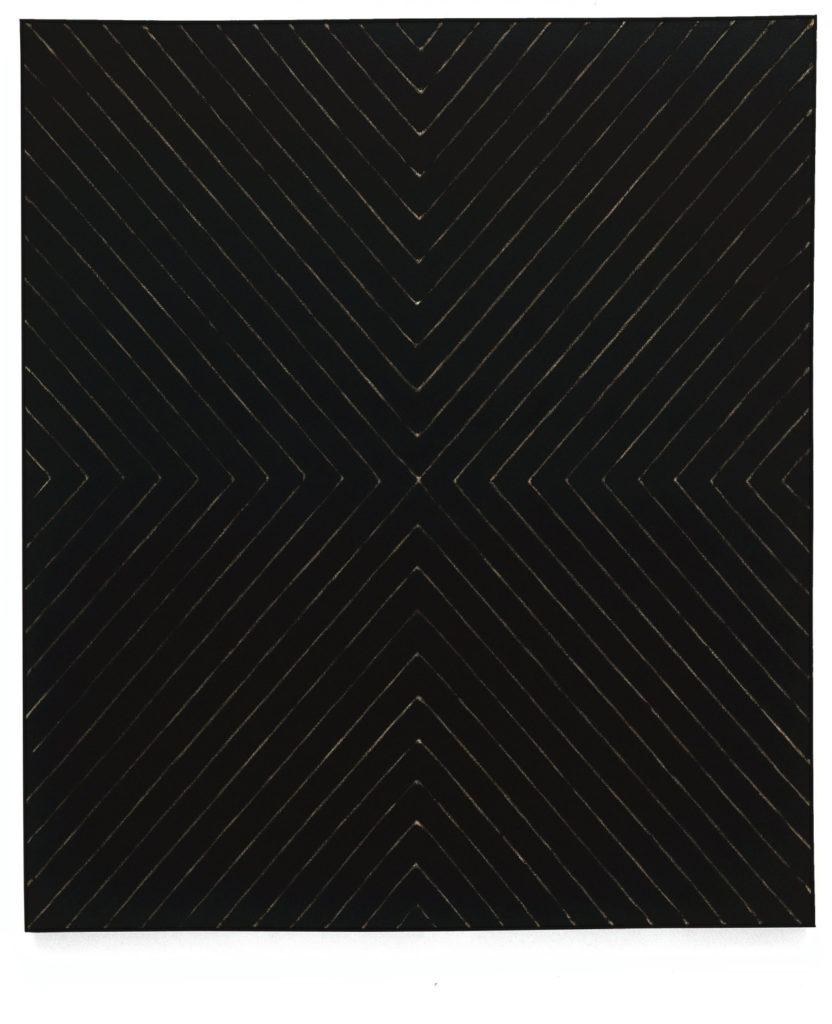 Frank Stella, Zambezi, 1959, pigmento metálico polimerizado sobre lienzo.