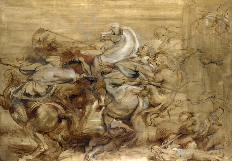 Full title: A Lion Hunt Artist: Peter Paul Rubens Date made: about 1614-15 Source: http://www.nationalgalleryimages.co.uk/ Contact: picture.library@nationalgallery.co.uk Copyright (C) The National Gallery, London