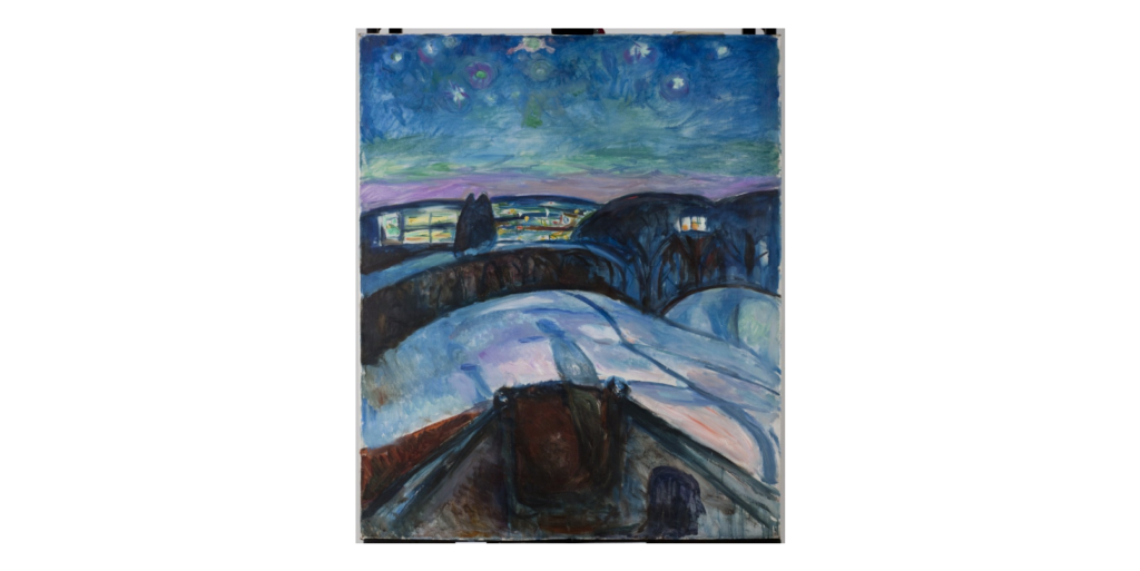 EDVARD MUNCH Starry Night II, 1922-1924 Oil on canvas 47 2/5 × 39 2/5 in 120.5 × 100 cm